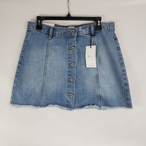 Forever 21 Denim A Line Button Up Mini Skirt
